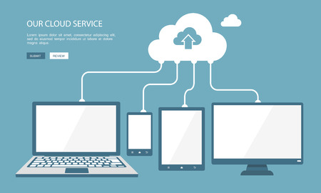 cloud computing technologies: Cloud technology flat illustration.