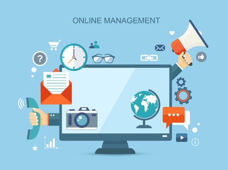 customer: Online management flat illustration with icons.