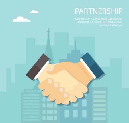 business relationship: Flat illustration of handshake. Partnership.