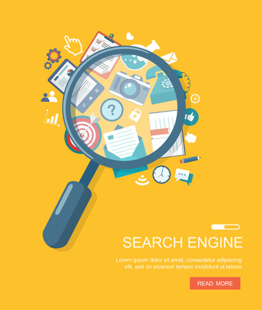 internet symbol: Search engine flat illustration with magnifying glass.