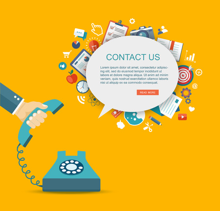 contact person: Flat illustration of hand holding phone with icons. Contact us.