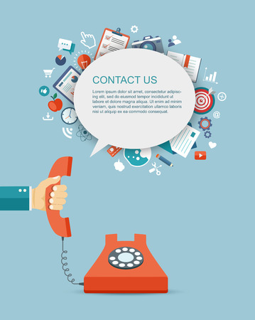 hand holding: Flat illustration of hand holding phone with icons. Contact us.