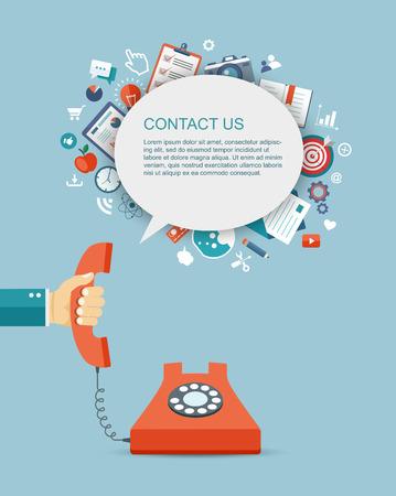 secretarias: Ilustración plana de teléfono explotación de la mano con los iconos. Contáctenos. Vectores