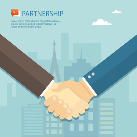 trust concept: Flat illustration of handshake. Partnership.