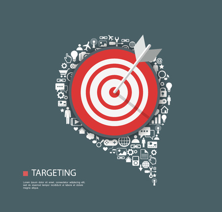 target: Flat illustration of targeting with icons.