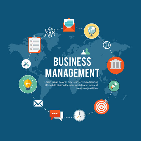 business management: Business management flat illustration with icons.