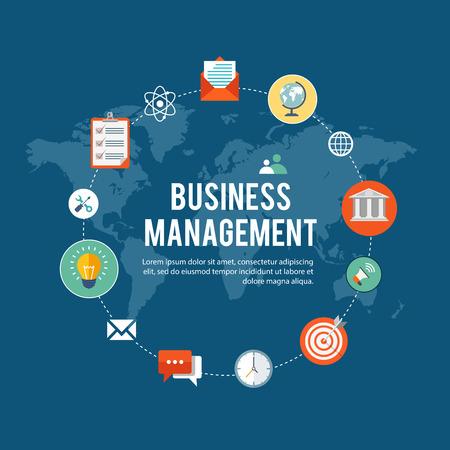 gestion empresarial: ilustración plana gestión empresarial con iconos. Vectores