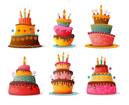 birthday  cakes set. eps10 Vectores