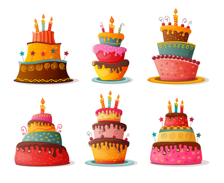 birthday  cakes set. eps10 Stock Illustratie