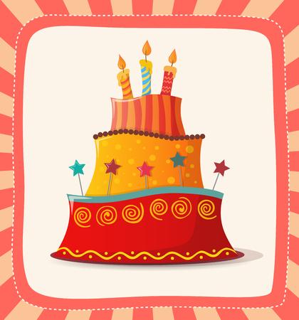 birthday card with cake. eps10 Illustration