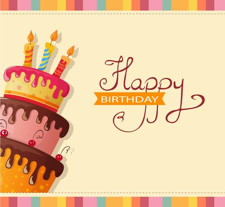 tarjeta de cumpleaños con pastel. eps10