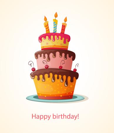 pastel de cumpleaños: tarjeta de cumpleaños con pastel. eps10