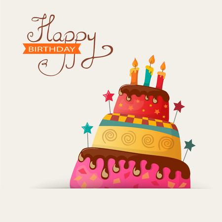 Carte d'anniversaire avec un gâteau. eps10 Banque d'images - 60617126