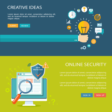 Online security and creative ideas flat baners set. Eps10 Illustration