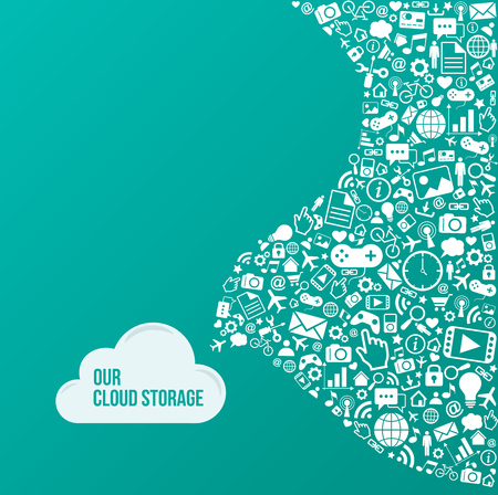 Flat illustration. Cloud storage services concept with icons. eps10