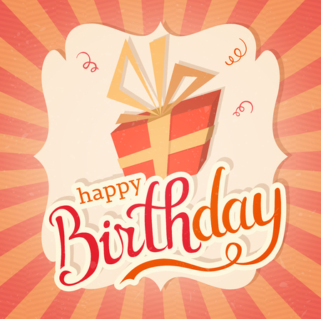 Happy birthday greeting card template vector illustration