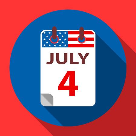 calendario julio: 4 Calendario julio icono plana