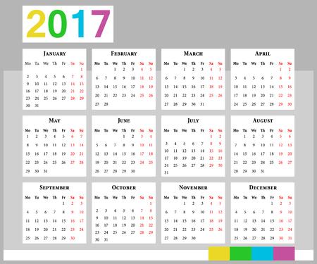 european euro: European calendar 2017 in english week starts on Monday. Office euro calendar grid for 2017.