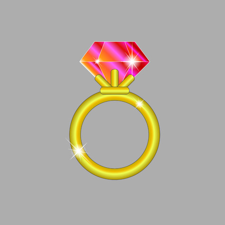 Golden ring with ruby on gray field