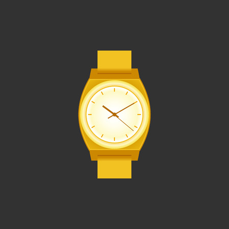 Wrist Watch unisex gouden kleur op zwart veld. Stijlvolle accessoire.