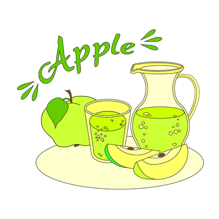 decanter: Apple juice with glass and carafe Illustration