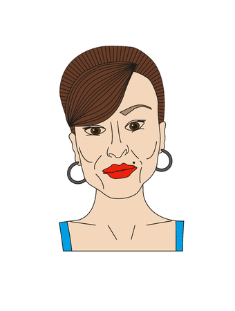 Sexy face of woman. Mother, adult, milf Illustration on white
