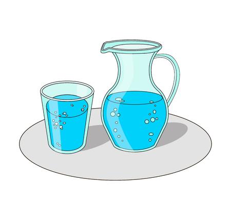 Ilustracji wektorowych kreskówek szkła i karafki z wodą. Ilustracje wektorowe