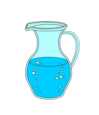Jug or carafe with water on white background. Çizim