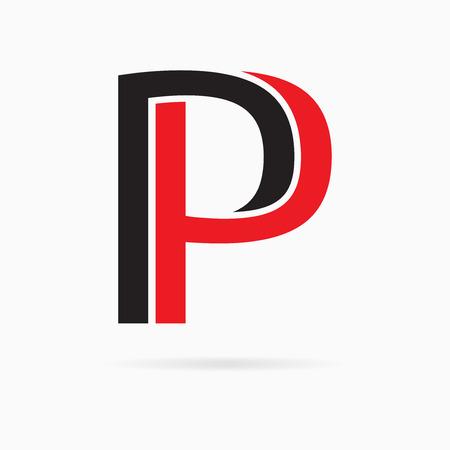 装飾的なデザインのアルファベット。2 つの色の手紙 p. 記号です。  イラスト・ベクター素材