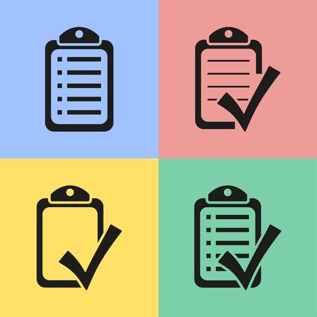 checklist: Set of black checklist icons. Vector illustration.