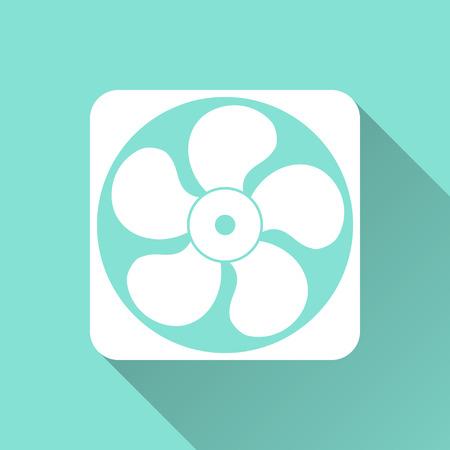 orificio nasal: Icono del ventilador de escape en un fondo verde. Ilustración vectorial, diseño plano.