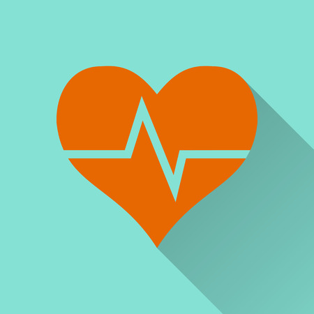heartbeat line: Heartbeat icon on a green background. Vector illustration, flat design. Illustration