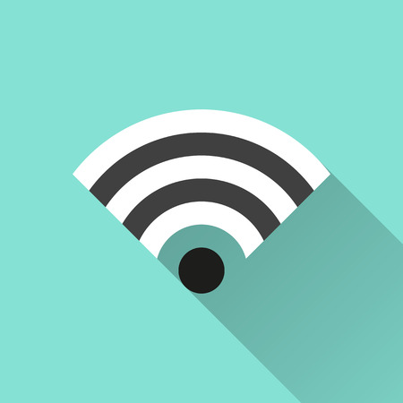 wi fi icon: Wi Fi icon on a green background. Vector illustration, flat design.