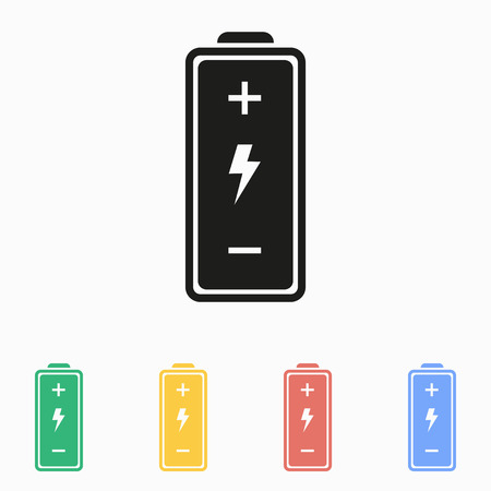 cadmium: Battery icon on a white background. Vector illustration, flat design.
