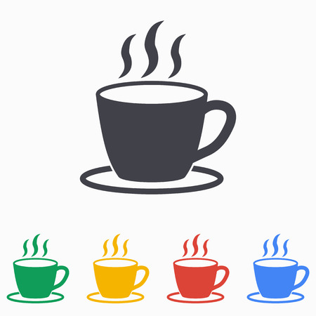 Coffee cup icon on a white background. Vector illustration, flat design.