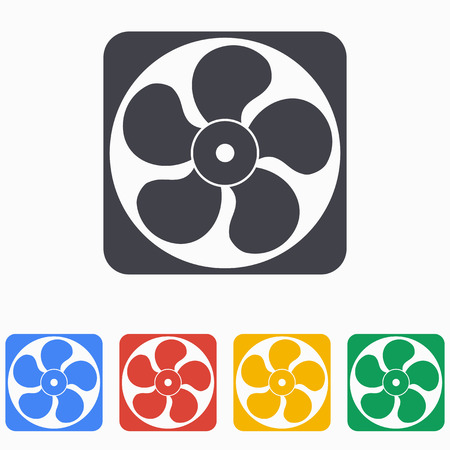 aeration: Exhaust fan icon on a white background. Vector illustration, flat design.