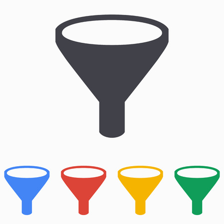 funnel: Funnel icon on a white background. Vector illustration, flat design.