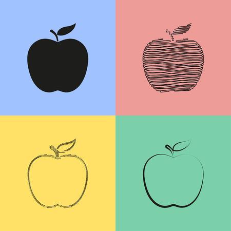 spring balance: Set of black apple icons. Vector illustration.