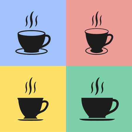 Set of black coffee cup icon. Vector illustration.