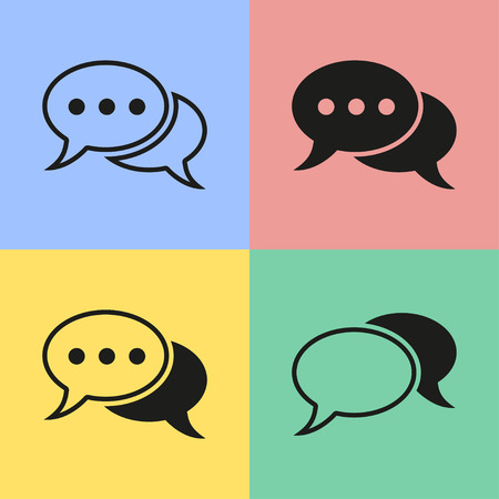 chat icons: Set of black chat icons. Vector illustration.