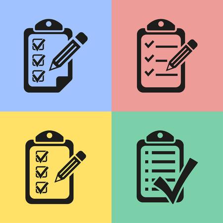 agenda: Set of black clipboard icons. Vector illustration.