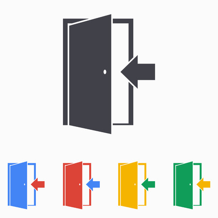 open: Door icon illustration Illustration