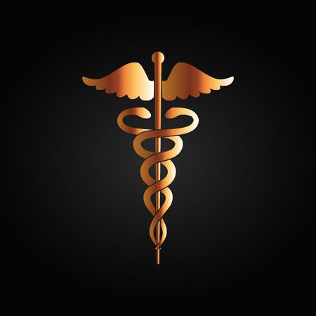 ordenanza: Símbolo médico con un gradiente de oro sobre un fondo negro Vectores