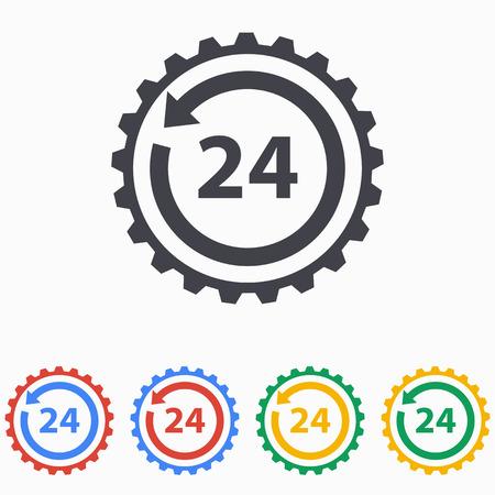 24 hour: 24 hour service icon illustration