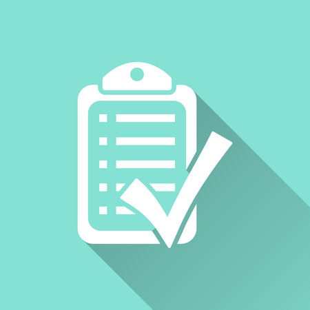 filling folder: Checklist icon illustration, flat design.