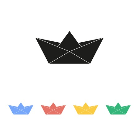 papercraft: Paper boat icon Illustration