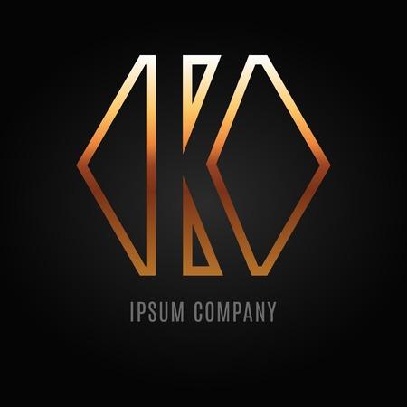 decorative letter: Graphic decorative design alphabet  letter K
