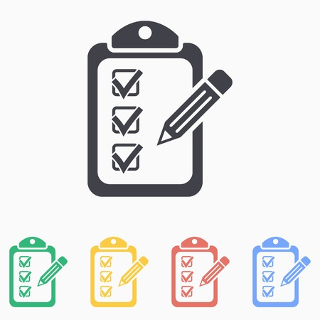 tasks: Clipboard pencil  icon - vector icon in black on a white background.