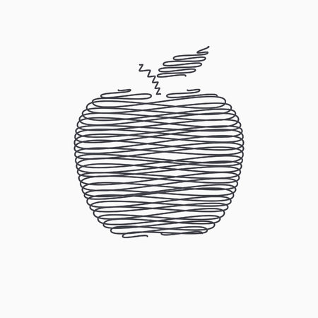 ripened: Apple   icon - vector icon in black on a white background.