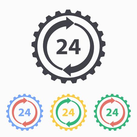 24 hour service icon, vector illustration. Vector illustration.